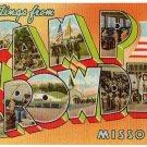 CAMP CROWDER, Missouri large letter linen postcard Teich