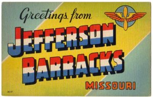 JEFFERSON BARRACKS, Missouri large letter linen postcard Colourpicture