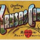 KANSAS CITY, Missouri large letter linen postcard Kropp