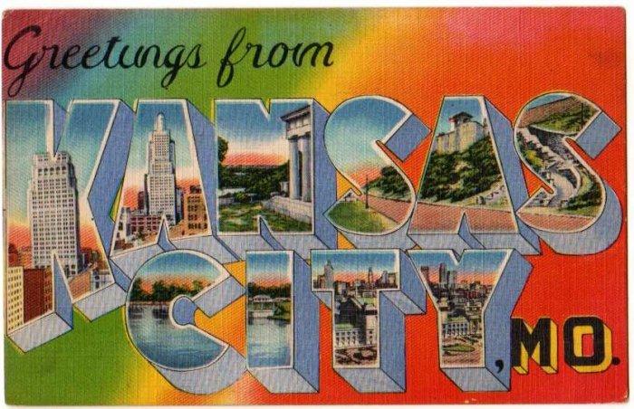 KANSAS CITY, Missouri large letter linen postcard Metropolitan