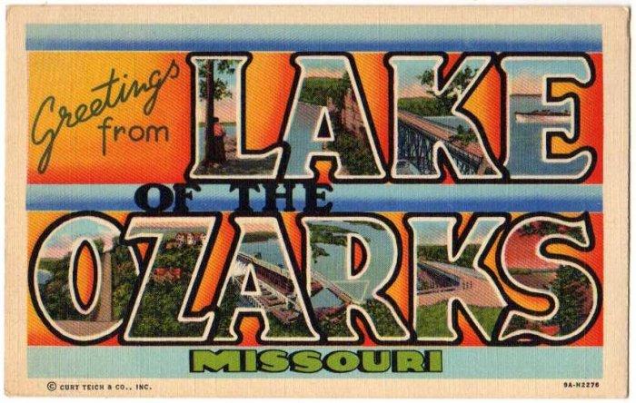 LAKE OF THE OZARKS, Missouri large letter linen postcard Teich