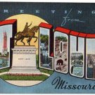 ST. LOUIS, Missouri large letter linen postcard Kropp