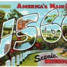 U.S. 66, Missouri large letter linen postcard Teich