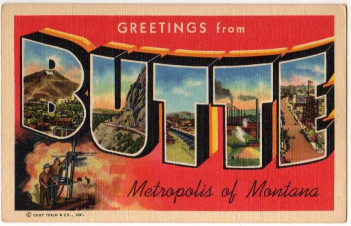 BUTTE, Montana large letter linen postcard Teich