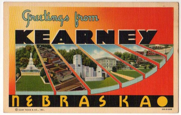 KEARNEY, Nebraska large letter linen postcard Teich