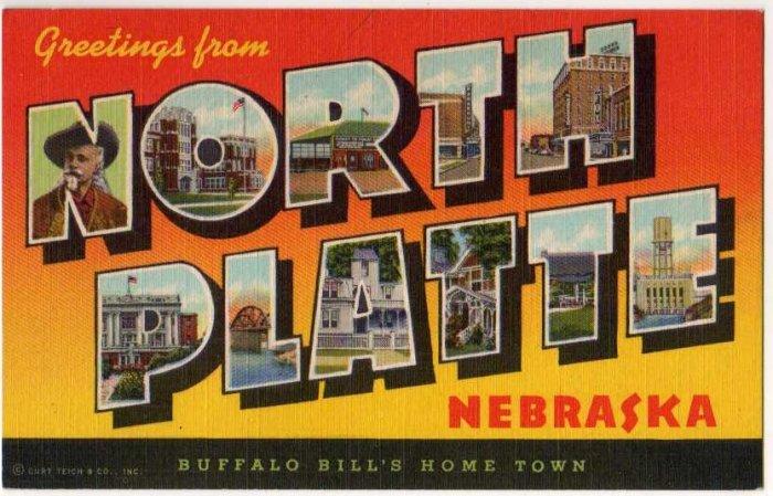 NORTH PLATTE, Nebraska large letter linen postcard Teich