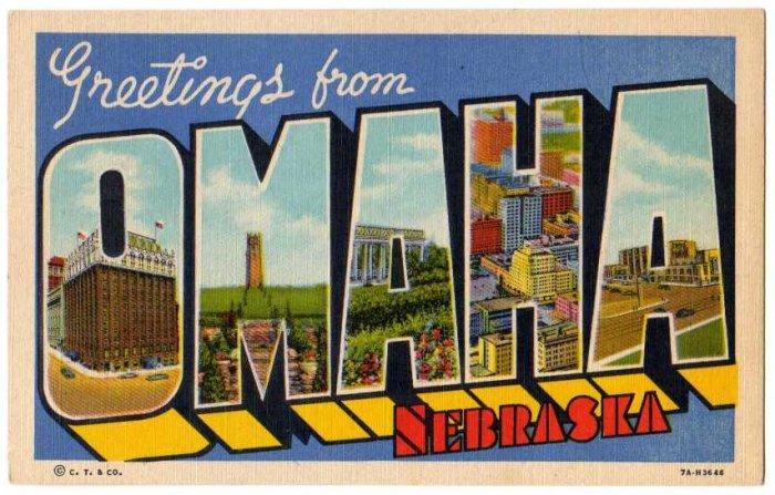OMAHA, Nebraska large letter linen postcard Teich