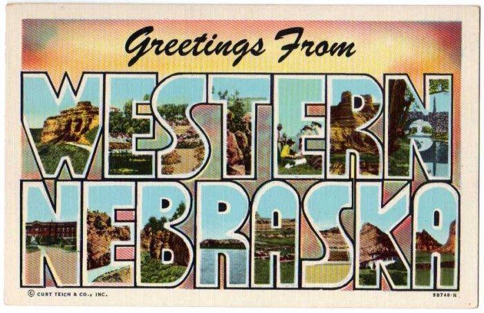 WESTERN NEBRASKA large letter linen postcard Teich