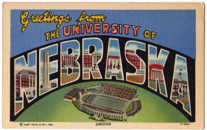 UNIVERSITY OF NEBRASKA large letter linen postcard Teich