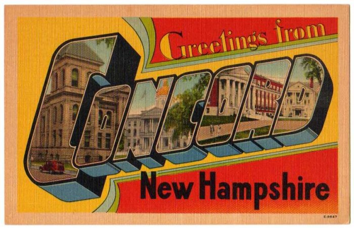 CONCORD, New Hampshire large letter linen postcard Eastern Photo