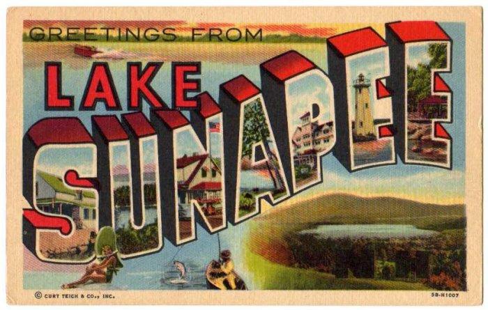 LAKE SUNAPEE, New Hampshire large letter linen postcard Teich