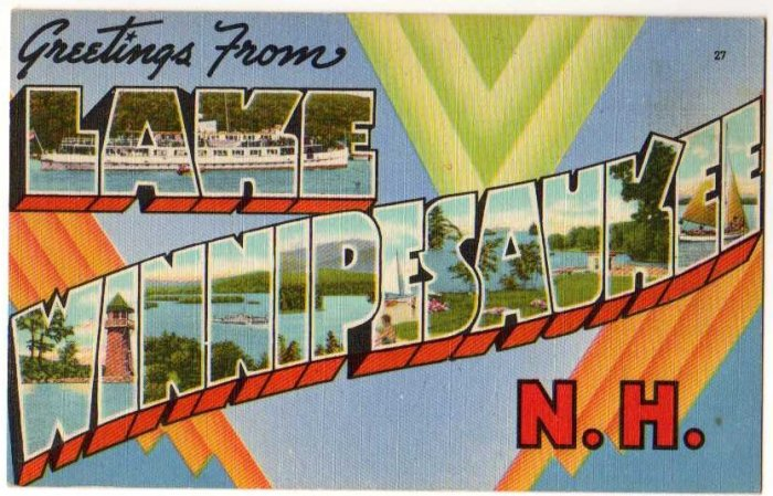 LAKE WINNIPESAUKEE, New Hampshire large letter linen postcard Tichnor