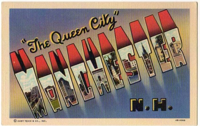 MANCHESTER, New Hampshire large letter linen postcard Teich