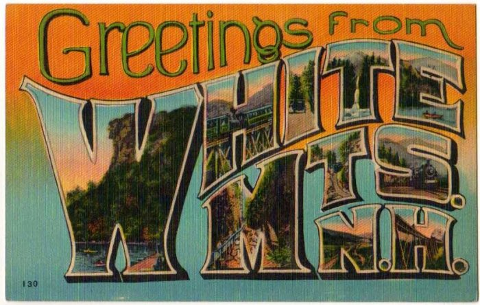 WHITE MTS., New Hampshire large letter linen postcard Metropolitan