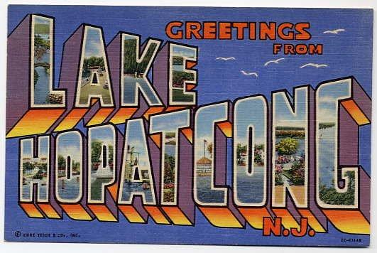 LAKE HOPATCONG, New Jersey large letter linen postcard Teich