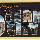 OCEAN CITY, New Jersey large letter linen postcard Colourpicture