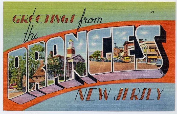 ORANGES, New Jersey large letter linen postcard Tichnor