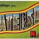 PATERSON, New Jersey large letter linen postcard Teich