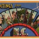 ASHEVILLE, North Carolina large letter linen postcard Teich