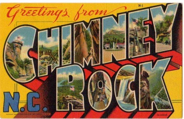 CHIMNEY POINT, North Carolina large letter linen postcard Teich