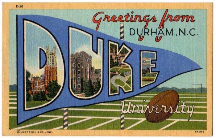 DUKE UNIVERSITY, North Carolina large letter linen postcard Teich