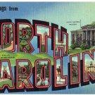 NORTH CAROLINA large letter linen postcard Curt Teich