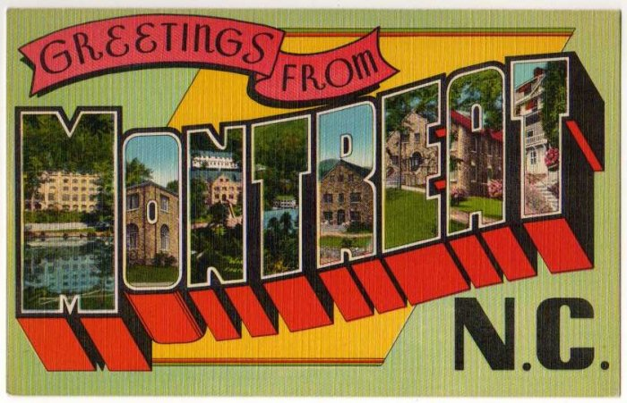 MONTREAT, North Carolina large letter linen postcard Eastern Photo