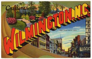 WILMINGTON, North Carolina large letter linen postcard Teich