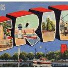 ERIE, Pennsylvania large letter linen postcard Teich