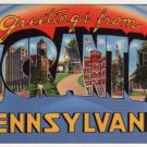 SCRANTON, Pennsylvania large letter linen postcard Tichnor