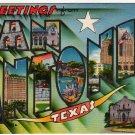 SAN ANTONIO, Texas large letter linen postcard Metropolitan