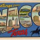 WACO, Texas large letter linen postcard Teich