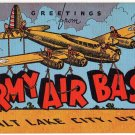 ARMY AIR BASE, Utah large letter linen postcard Kropp