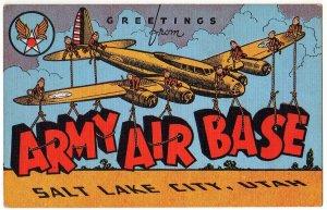 ARMY AIR BASE, Utah large letter linen postcard Kropp