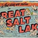 GREAT SALT LAKE, Utah large letter linen postcard Kropp