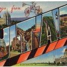 UTAH large letter linen postcard Teich