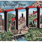 OGDEN, Utah large letter linen postcard Kropp