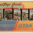 OGDEN, Utah large letter linen postcard Tichnor