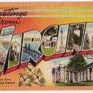 VIRGINIA large letter linen postcard Tichnor