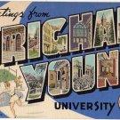 BRIGHAM YOUNG UNIVERSITY, Utah large letter linen postcard Teich