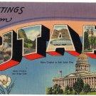 UTAH large letter linen postcard Tichnor