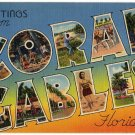 CORAL GABLES, Florida large letter linen postcard Tichnor