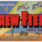 DREW FIELD, Florida large letter linen postcard Teich