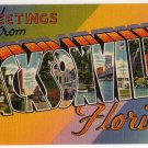 JACKSONVILLE, Florida large letter linen postcard Tichnor