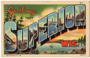 SUPERIOR, Wisconsin large letter linen postcard Teich