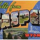 CASPER, Wyoming large letter linen postcard Teich