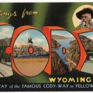 CODY, Wyoming large letter linen postcard Teich