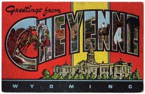 CHEYENNE, Wyoming large letter linen postcard Kropp