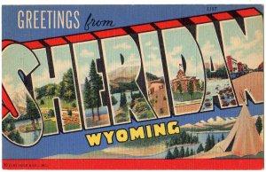 SHERIDAN, Wyoming large letter linen postcard Teich