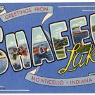 SHAFER LAKE, Indiana large letter linen postcard Teich